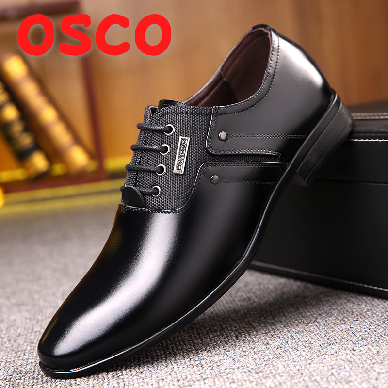 OSCO Luxury brand PU Leather Fashion Business Dress Loafers Pointy Black Shoes Men Oxford Breathable Formal Wedding Shoes