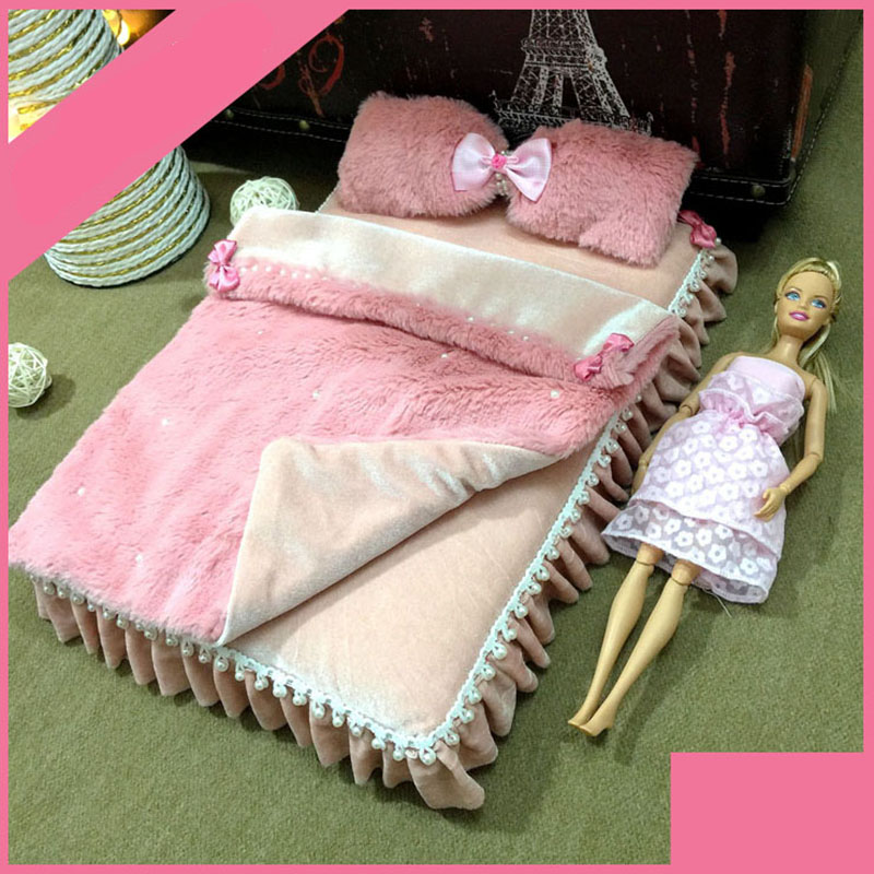 1/6 bed for dolls Dollhouse Furniture toy plush 35cm pink soft bed model Miniature simulation pretend play toys girls gifts 1 6 furniture toy for dolls dollhouse miniature pink soft bed kawaii bjd doll simulation bed pretend play toys girls gifts new
