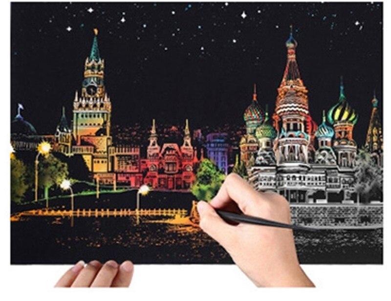 40*28,5 cm arañazos ciudad vista nocturna pintura raspado niños urbano vista nocturna Scratch imágenes de papel pintura regalo de cumpleaños