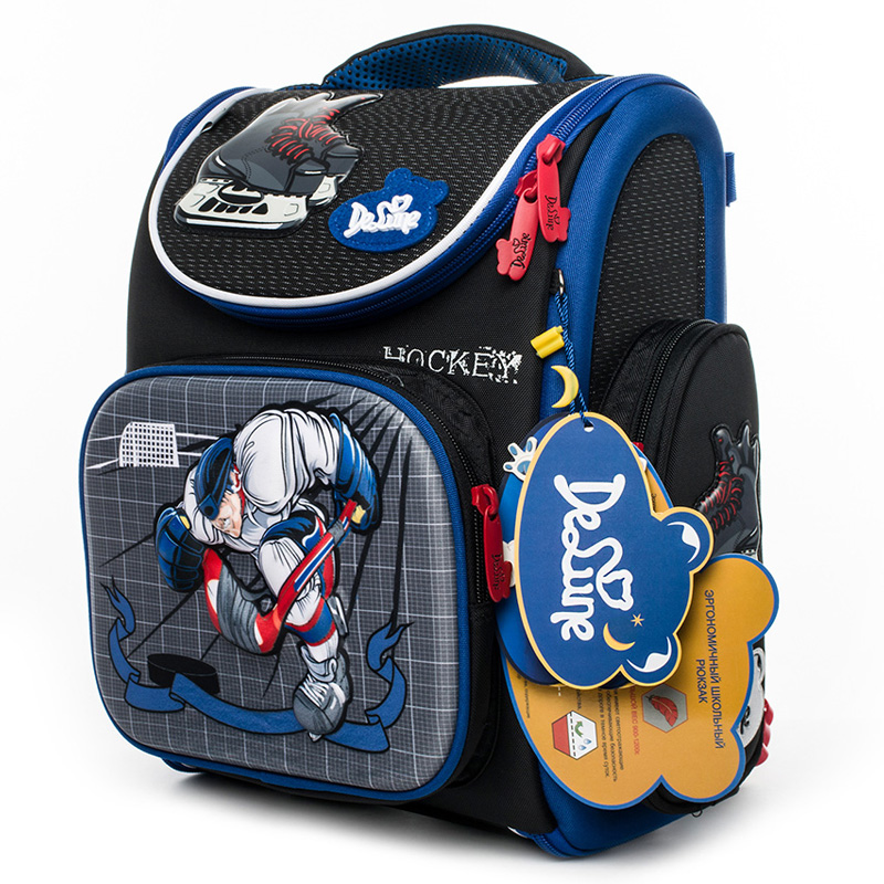 Delune Hockey Pattern School Bags For Boys Girls Cartoon Primary Backpack Children Orthopedic Backpacks Mochila Infantil