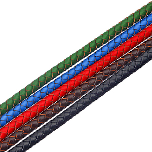 1yard Five Color 6mm Round Braided Genuine Leather Cord For Bracelet Necklace Making DIY Fashion Jewelry Findings