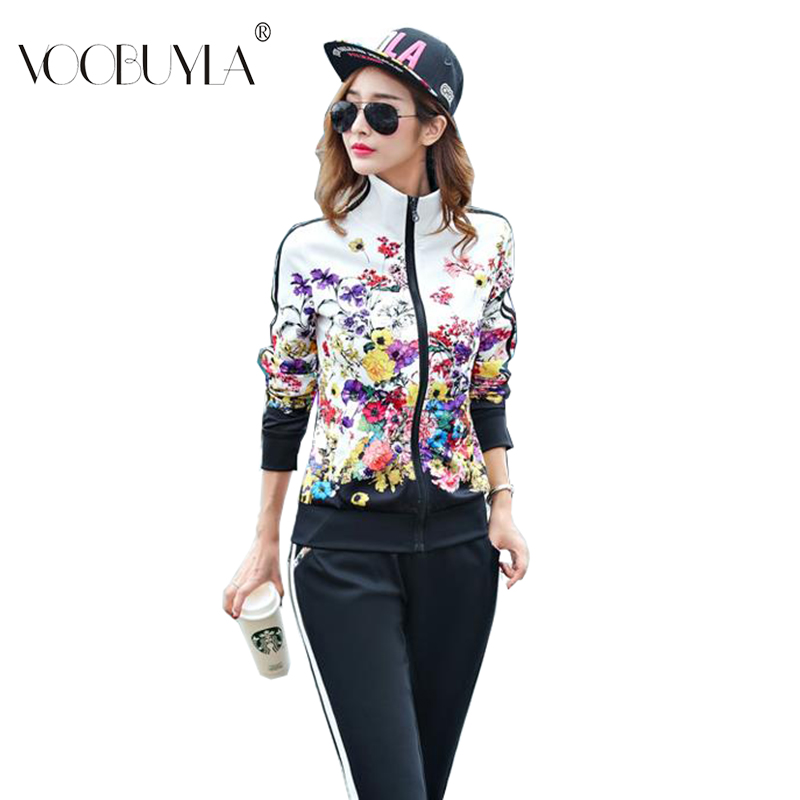 Voobuyla Plus Size L 6XL Tracksuit Two Piece Outfits Women Long Sleeve Top Long Pants Running