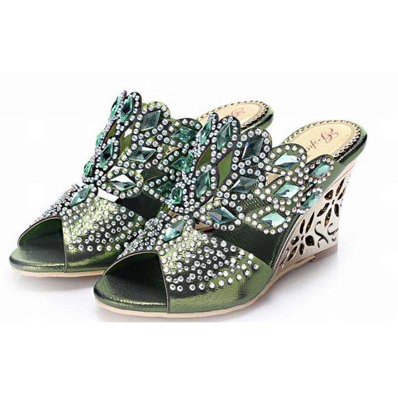 new hot 2018 women wedges slippers rhinestone open toe sandals thick high heels ladies summer bling bling  diamond shoes big size 34 44 new fashion summer women stiletto high heels slippers gladiator open toe diamond rhinestone sandals ladies shoes
