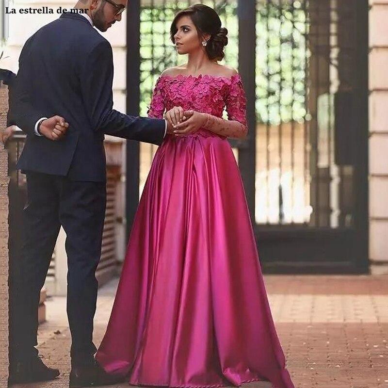 Vestido de formatura longo new Off the Shoulder lace flower satin long sleeve A Line rose red India   prom     dress   custom elegant