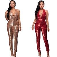 New Rose Gold Sequins Night Club Wear Bodysuit Stylish Sexy Deep V Neck Open Back Women
