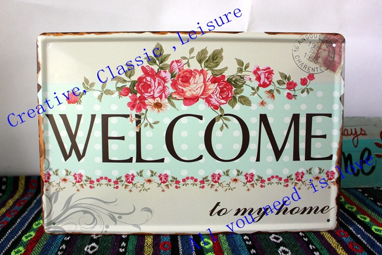 Metal Signs Home Decor custom metal wall art metal art home decor custom metal sign farmhouse 2 Designs Free Shipping Welcome Metal Sign Welcome Metal Art Home Decor Sign With Flowers