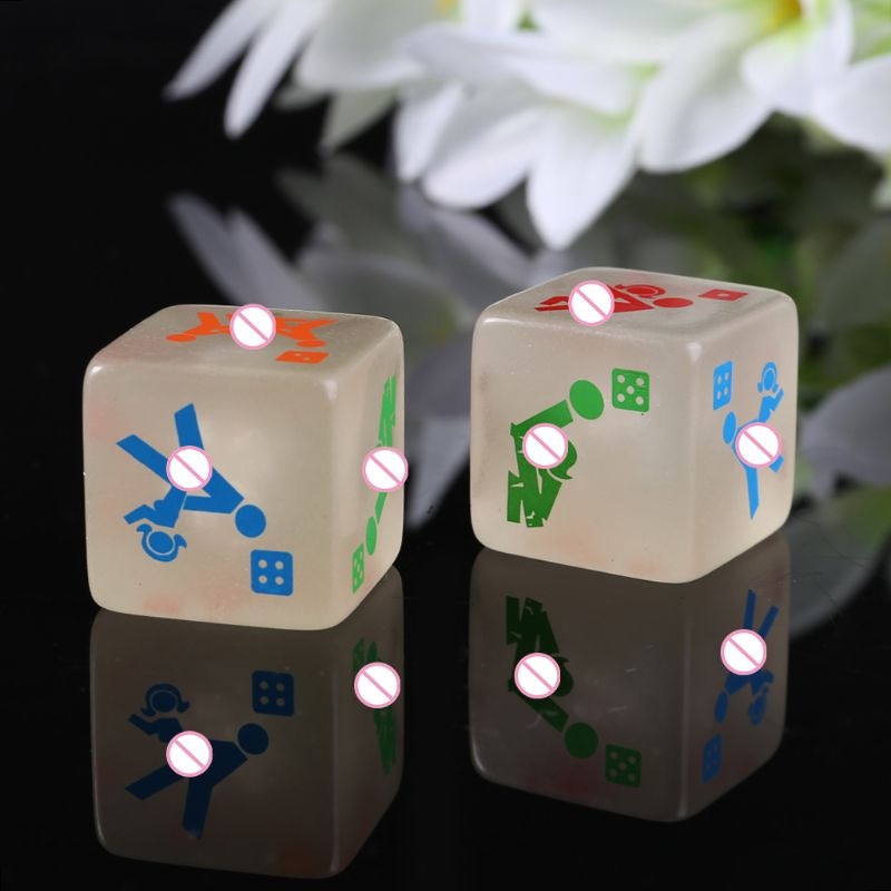 2pcs 25mm Noctilucent Dice Cube Adult Game Love Sexy Dice Night Bar KTV Fun Game Tool image