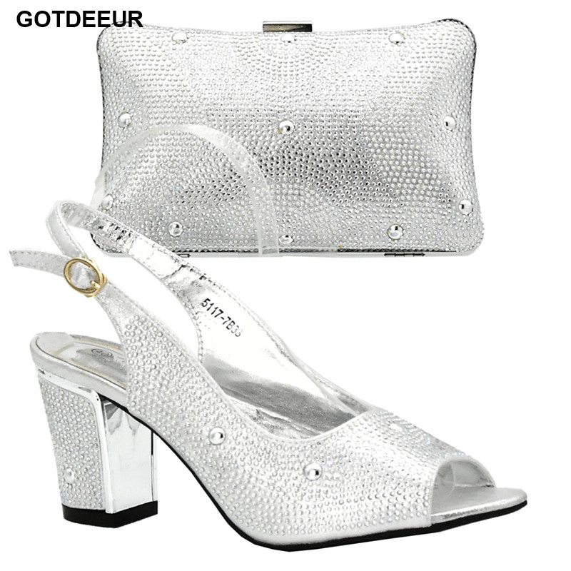 New Arrival Sliver Color Italian Ladies Shoes and Bag To Match Set Decorated with Rhinestone Nigerian Women Wedding Shoe and Bag
