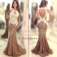 Real Made Sexy Vestidos De Fiesta Key Hole Backless Mermaid Lace Prom Evening Dress 2019 DYQ1080