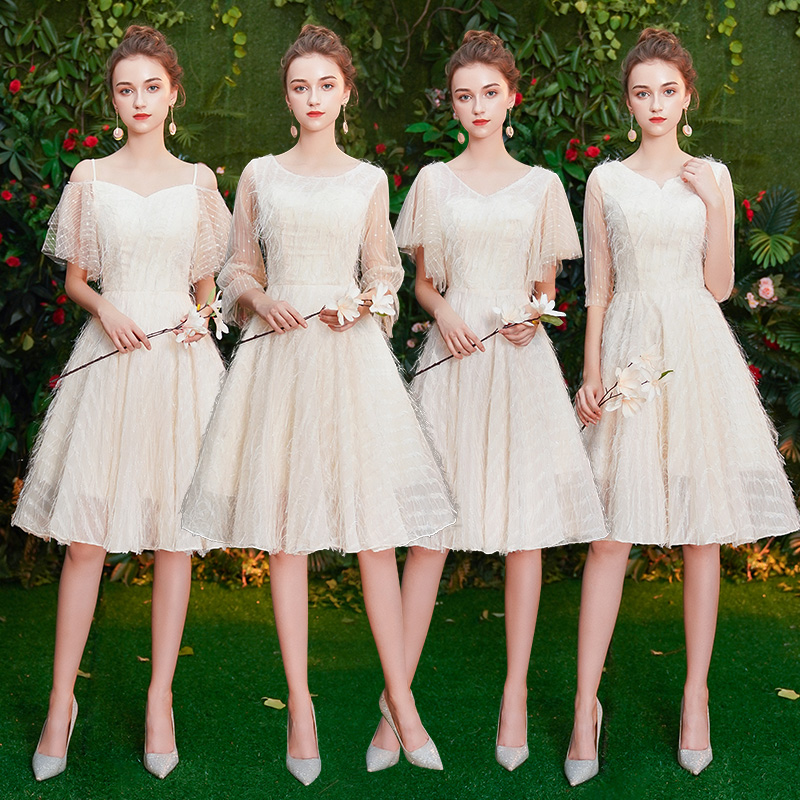 New Lace Champage   Bridesmaid     Dresses   2019 Long for Women A-Line Off the Shoulder Homecoming Party   Dresses