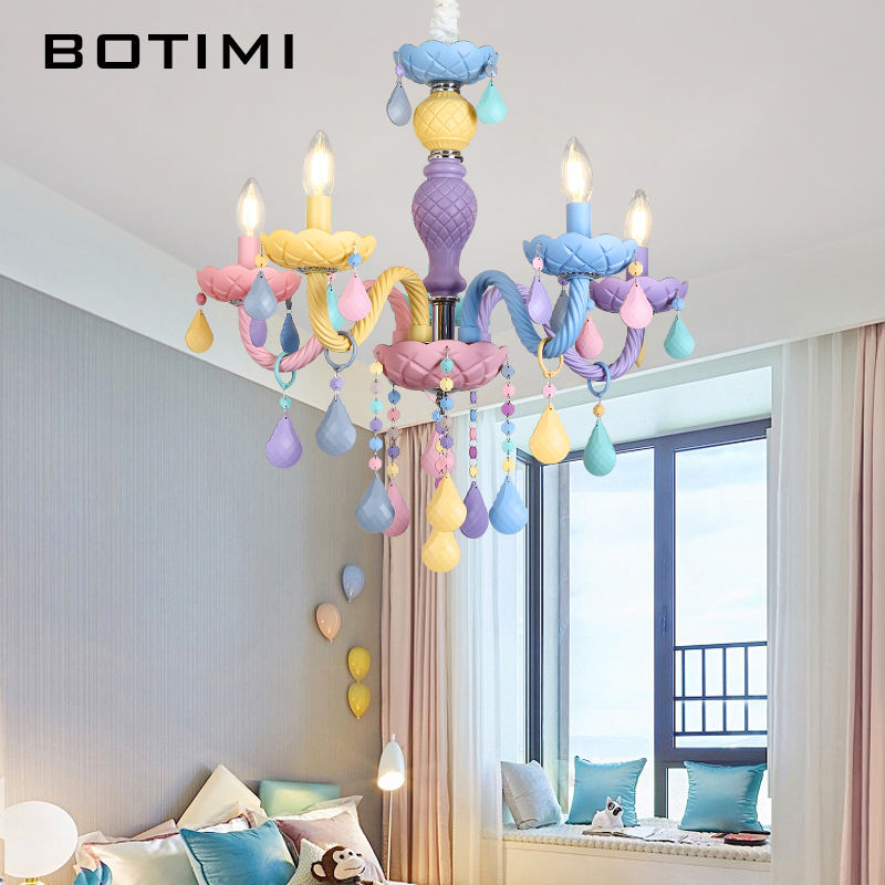 BOTIMI New Arrival Chandelier For Living Room Modern Crystal Lustre Bedroom Lustres Colorful Chandelier Lighting Foyer Lihgts in Chandeliers from Lights Lighting
