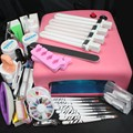Pro 36W UV GEL Pink Lamp & 8 Brush Practice Fingers Tips Nail Art Tool Sets Manicure Set  To Build Gel Nails Art Tools 34235
