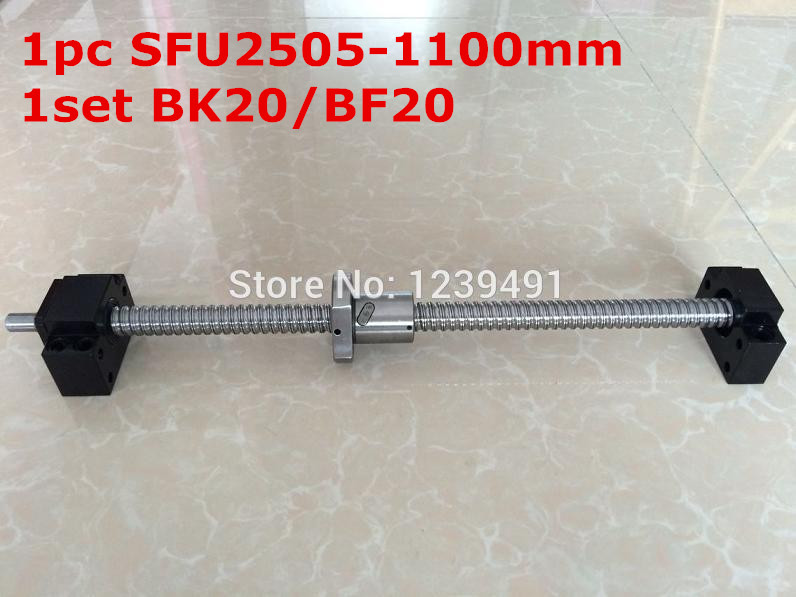 SFU2505 - 1100mm ballscrew with end machined + BK20/BF20 Support CNC parts tbi 2505 c3 1100mm length ballscrew 5mm lead with sfu2505 ball nut end machined for cnc kit
