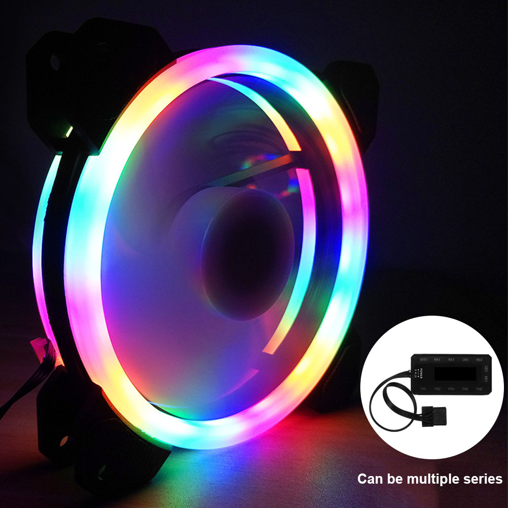 120mm LED CPU Cooler Set Quiet RGB Case Fan with Remote Control Adjustable Radiator for Computer QJY99