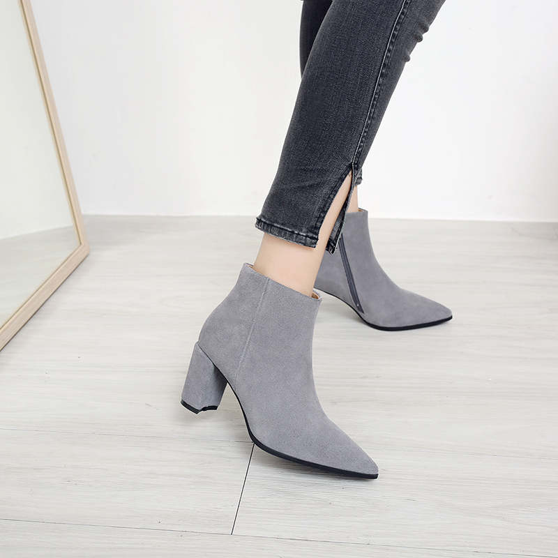 RYVBA Women suede Genuine leather pointed toe Ankle boots womens Autumn winter boots 2018 Woman fashion square high heels shoes 13