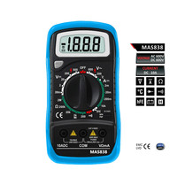 Mini LCD Digital Multimeter DMM Temperature Tester Probe Transistor Diode Continuity Test with Data Hold Function MAS838
