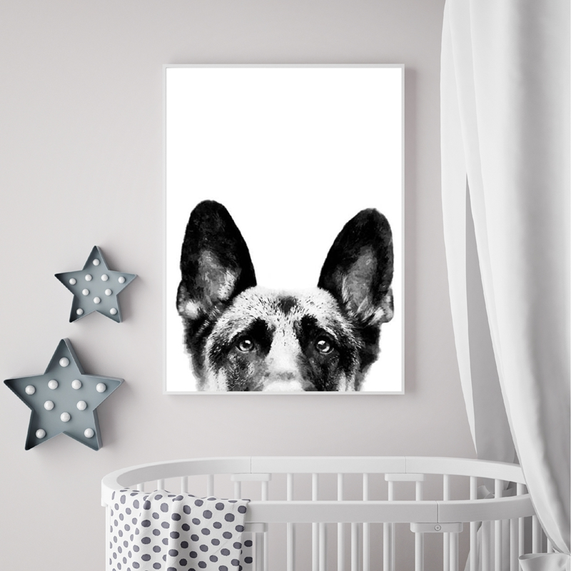 German-Shepherd-Canvas-Poster-Nursery-Wall-Art-Print-Watercolor-Pet-Dog-Painting-Nordic-Picture-Children-Bedroom