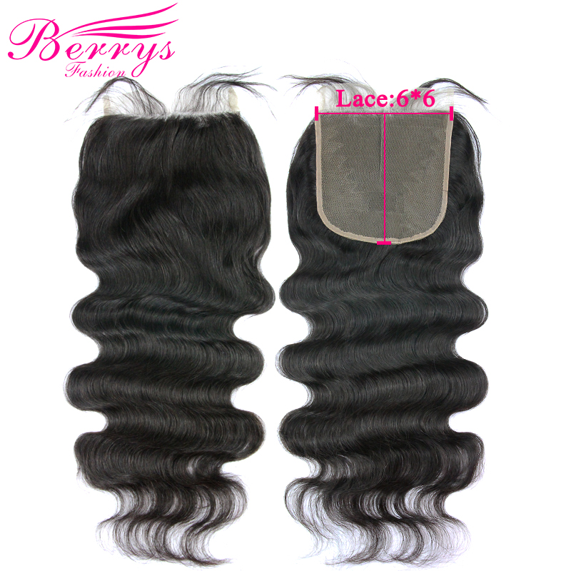Image 2 - 6x6 Lace Closure Pre Plucked With Baby Hair Brazilian Body Wave Virgin Human Hair Closure With Baby Hair Berrys Fashion-in Closures from Hair Extensions & Wigs
