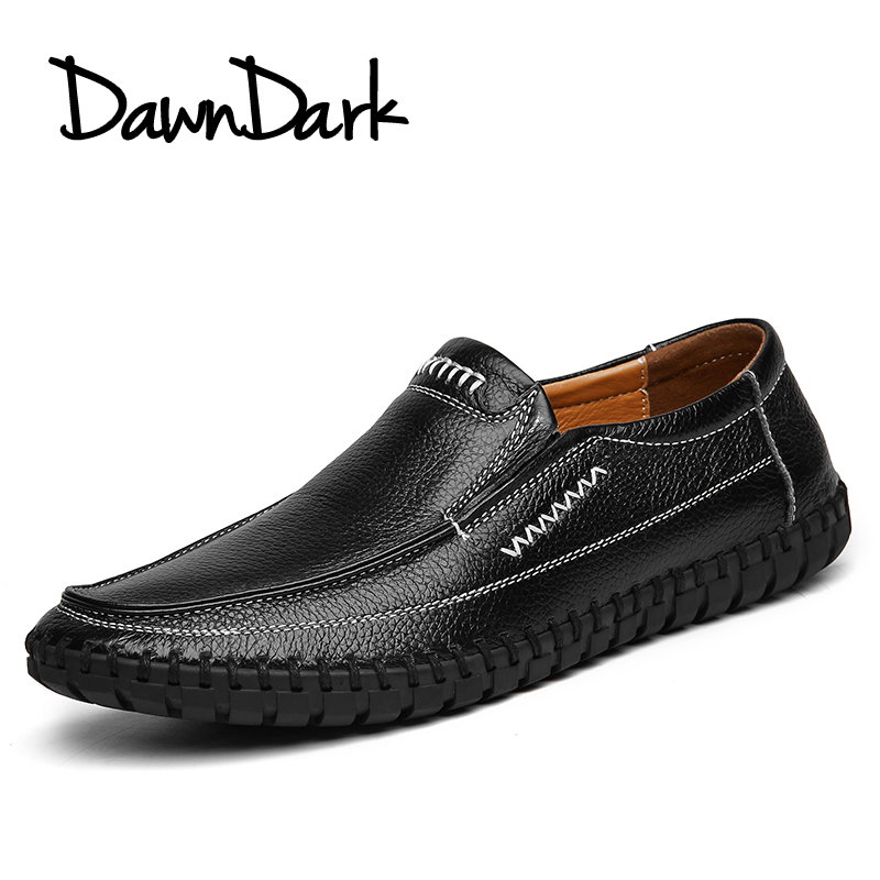 Men Casual Shoes Genuine Leather Male Soft Leather Flat Loafers - Men's Shoes - Photo 4