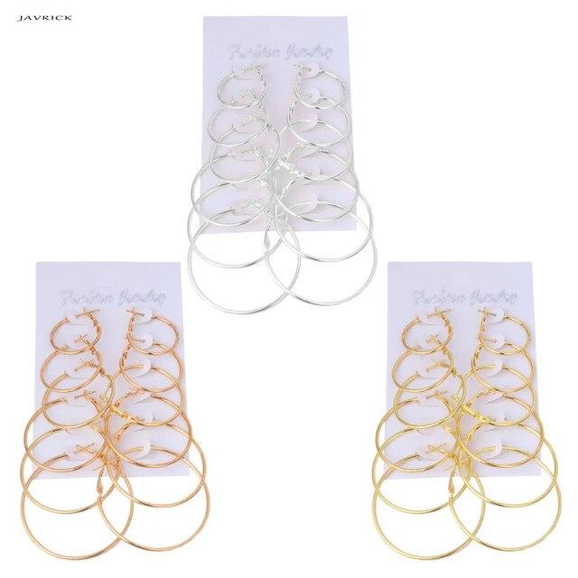 JAVRICK 6 cái/bộ Cổ Điển Dangle Nhẫn Bông Tai Vòng Tròn Lớn Phụ Nữ Steampunk Ear Clip NEW