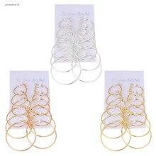 JAVRICK 6Pairs/set Vintage Dangle Ring Big Circle Earrings Women Steampunk Ear Clip NEW
