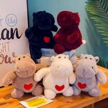 30cm Cartoon Cute Hippos Doll Plush Toys Stuffed Animal Love Heart Hippo Plush Doll Toy Girls Birthday Gift Toy цена и фото
