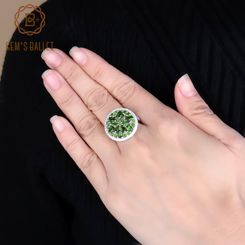 GEM S BALLET Luxury Natural Chrome Diopside Gemstone Ring 100 925 Sterling Silver Vintage Cocktail Rings