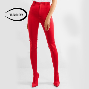 WEIQIAONA 2019 New Fashion Popular Boots Pants Together Women Boots Sexy Elastic Fabric Pointed Toe Ladies High Heel Pants-boots