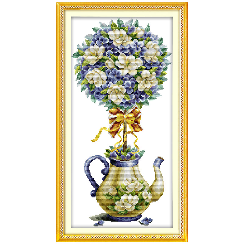 Hermoso Magnolia tetera pinturas impresas en Canva DMC 11CT 14CT ...