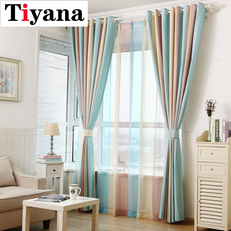 Tiyana Modern Elegant Multi Color Stripe Curtains Window Drapes For Living Room Bedroom Quality Sheer Curtain Home Decor P391D2