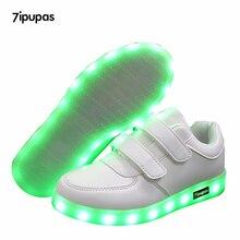 Мода привели детей Кроссовки детская зарядка через USB светящиеся освещенные Кроссовки мальчиков/девочек красочные светодиодные фонари детей Обувь 25- 40