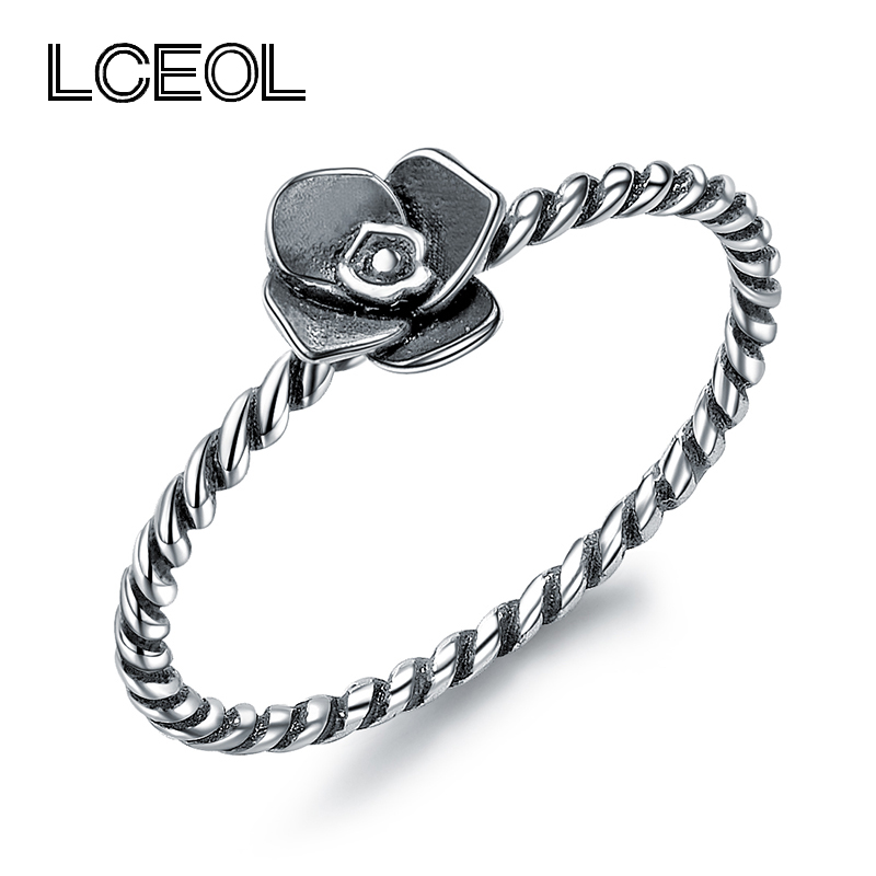 Rope Design Bands: LCEOL Fashion Thai Silver Color Rope Design Rings With