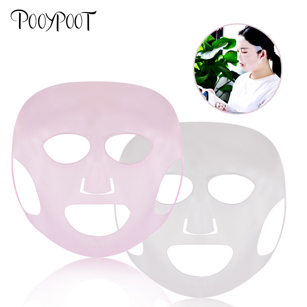 Pooypoot Silicone Mask Cover Moisturising Pink White Ear-hook Face Reusable Better Absorption Skin Care Beauty Tools