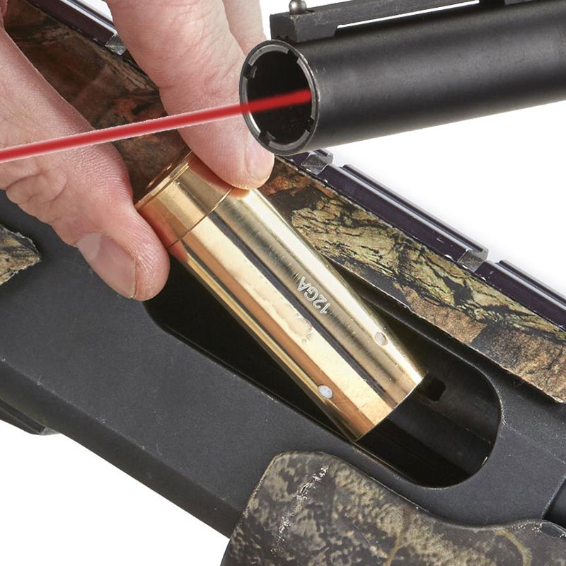 Lambul 12GA 20 12 Calibre Cartucho CALIBRE Laser Vermelho Furo Sighter Boresighter A Laser Sight Boresight Âmbito Caça 5.45 × 39 7.62 × 54