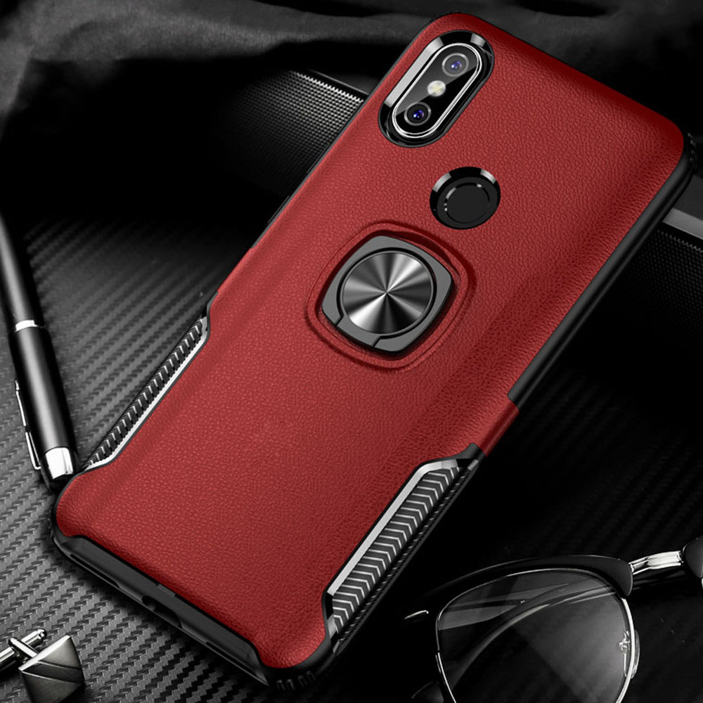 Luxury metal Bracket case For xiaomi redmi note 6 pro 4 4x redmi 6 pro cases Shockproof armor with ring holder Silicone cover(China)