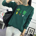 M-2XL korean kawaii harajuku plus size sweatshirt women 2017 autumn hoodie 3d plant embroidered embroidery hoodies women couple