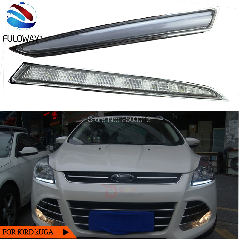 ФОТО Car DRL LED daytime running lights turn signal and turn off relay 12V for ford Kuga Escape 2013 to 2015 cotton LED lights