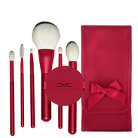 High Quality 6Pcs Set Natural Goat Hair Makeup Brush Set With Pouch And Air Puff Red