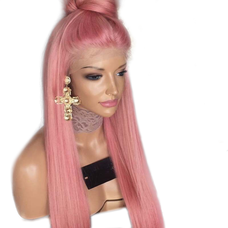Charisma Straight Hair Wig Lace Front Wigs With Natural Hairline Pink Color High Temperature Fiber Synthetic Wig For Women