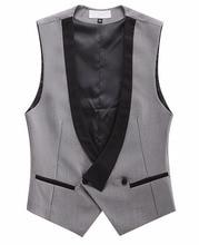 Custom Made Gray And Black Vests For Men Slim Fit Wedding Prom Waistcoat Groom Best Man