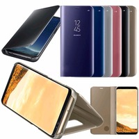 Mirror Smart View Leather Stand Flip Case Cover For Samsung S8 S7 S6 Edge Plus Note