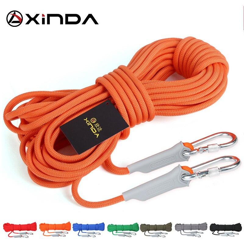 XINDA 10M Professional ROCK Climbing กลางแจ้งเดินป่าอุปกรณ์เสริมเชือก 9.5 มม.2600lbs สายไฟความแข็งแรงสูงความปลอดภัยเชือ...