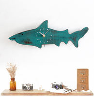 021286 Restore ancient ways do old rural lovely sharks wood wall clock sitting room metope mute decorative wall clock