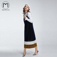 Margin 2017 New Hight Street Streetwear Women Spaghetti Strap Dress Casual V Neck Patwork Mid Calf