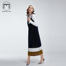 Margin 2017 New Hight Street Streetwear Women Spaghetti Strap Dress Casual V-Neck Patwork Mid-Calf Dresses Velvet Vestidos