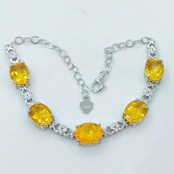 28b8c3f4f734 RADHORSE 925 pulseras de plata para las mujeres joyería fina 100% Natural  citrino 925 Plata incrustaciones joya pulseras ajustables