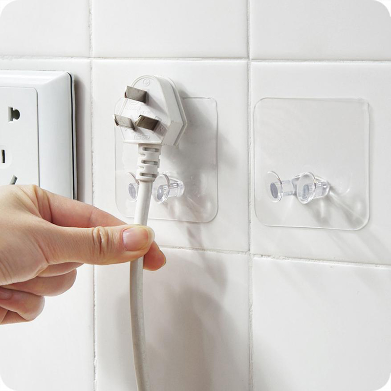 3pcs/10pcs Transparent Seamless Power Plug Hook Socket Storage Holder Powerful Adhesive Wall Hanger for Kitchen Living Room