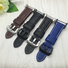 Smart Watchband For Suunto CORE/ESSENTIAL Quality Genuine Leather Watch bands 24mm Mens Black watch accessories with Adapter