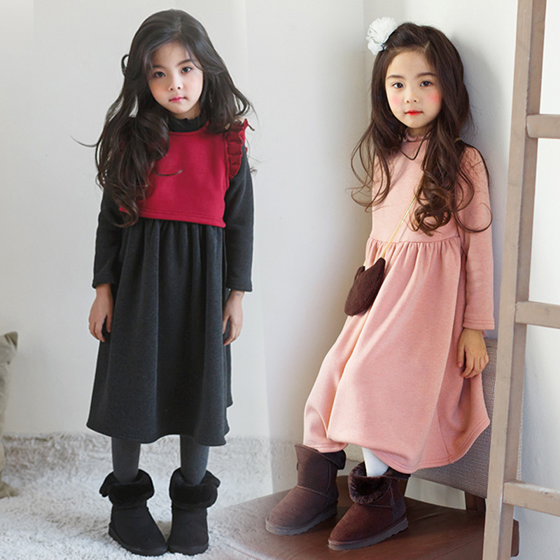 winter autumn baby big girls dress fleece long princess christmas dresses for girls long sleeve school dress children clothing стоимость