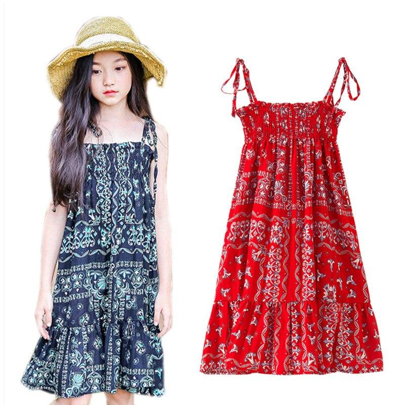 4 to 14 years kids & teenager girls summer geometric tribe print bohemian beach dress children fashion cotton casual dresses цена 2017